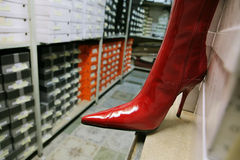 Red female boot Stock Images