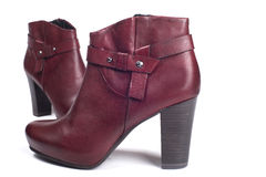 Red female boots Royalty Free Stock Image