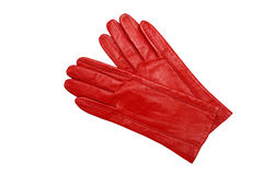 Red female gloves isolated on a white. Background Royalty Free Stock Photos