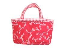 Red female handbag. Isolated on white Royalty Free Stock Photography
