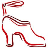 Red female high heel shoe.  Royalty Free Stock Photo