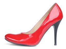 Red female high heels shoe isolated Stock Photo
