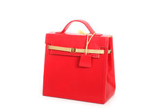 Red  female leather bag. Isolate on white Stock Images