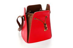 Red female leather bag isolated on white background Royalty Free Stock Photography