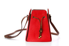 Red female leather bag isolated on white background Royalty Free Stock Images