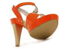 Red Female Leather shoes Royalty Free Stock Photos