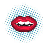 Red female lips closeup. Colorful, retro illustration on pop-art background. Mouth with teeth and lips. Vector vector illustration