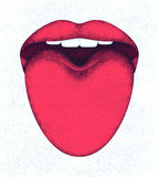 Red female lips and sticking out tongue Stock Photography