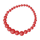 Red female necklace of precious stones. Dressing for women under the dress.  Woman clothes single icon in cartoon  Stock Photos