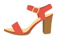 Red female sandal on heel isolated cartoon illustration Stock Images