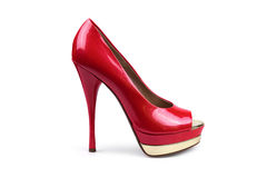 Red female shoe-1 Royalty Free Stock Photography