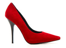 Red female shoe on a high heel Stock Image