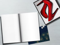 Red female shoes in box and blank pages. Fashion mockup. Royalty Free Stock Photos