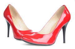 Red Female Shoes High Heels Isolated Royalty Free Stock Photography