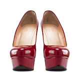 Red female shoes with high heels Royalty Free Stock Photography
