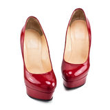 Red female shoes with high heels Stock Image