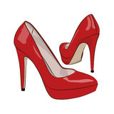 Red Female Shoes On A White Background. Vector Illustration. Stock Photography