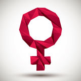 Red female sign geometric icon made in 3d modern style, best for Royalty Free Stock Photo