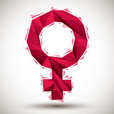 Red female sign geometric icon made in 3d modern style, best for. Vector  female sign geometric icon made in 3d modern style, best for use as symbol or design Royalty Free Stock Images