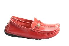 Red feminine loafers Stock Photos