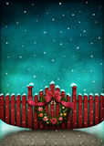 Red fence and Christmas wreath. Background  for Greeting card or illustration of  red fence and Christmas Wreath. Computer graphics Royalty Free Stock Images