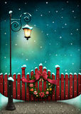 Red fence and Christmas wreath royalty free illustration