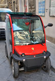 Red Ferari Electric Car in Florence Italy Stock Photo