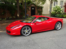 Red Ferrari in Georgetown Stock Photo
