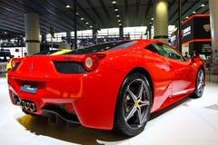 Red Ferrari 458 Italia. A red Ferrari 458 Italia in Auto show Guangzhou 2013 Royalty Free Stock Photo