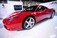 Red FERRARI 458 ITALIA on display Stock Photos