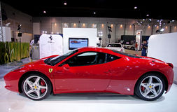 Red FERRARI 458 ITALIA on display Stock Photo