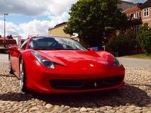 Red Ferrari. Luxury Ferrari on the market in Karlskrona Royalty Free Stock Photography