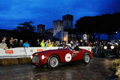 Red Ferrari 106 MM, 1949, during the 1000 Miglia in Sirmione Stock Photo