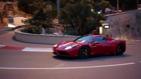 Red Ferrari 488 in Monte-Carlo, Monaco stock video