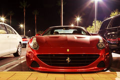 Red Ferrari at night Royalty Free Stock Photography