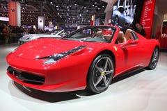 Red Ferrari Paris Auto Show Stock Images
