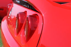 Red ferrari tail lamps Royalty Free Stock Photo