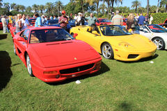Red Ferrari 512tr & ferrari F360 spider Royalty Free Stock Photography