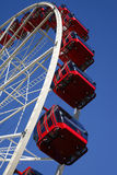Red Ferris Wheel. Clear Blue Sky, Amusement Park royalty free stock images