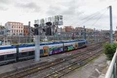Red ferroviaria nacional francesa en Toulouse Fotografía de archivo