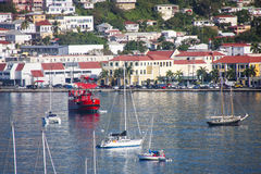 Red Ferry Crossing Bay on St Thomas Royalty Free Stock Photo
