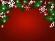 Red festive background. Illustration of leaves, snowflakes and stars bordering red festive background Stock Photography