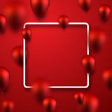 Red festive background with balloons. Red festive background with 3d balloons. Vector illustration Royalty Free Stock Images