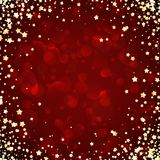 Red festive background with stars. Red festive background with yellow stars. Vector illustration Royalty Free Stock Photos