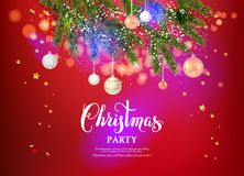 Christmas beautuful decor. Red festive background template with Christmas tree branches, Holiday decorations and place for text. Christmas balls, stars and Royalty Free Illustration