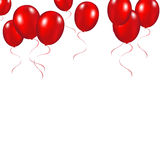 Red festive balloons background vector illustration on a white b. Ackground Royalty Free Stock Images