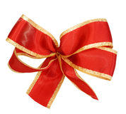 Red festive bow isolated on white Stock Photos