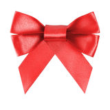 Red festive bow made from ribbon Royalty Free Stock Images