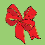 Red festive bow sash. Vector illustration. Packing and gifts Royalty Free Stock Images