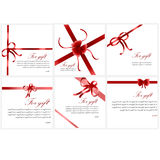 Red festive bows on the box. Ribbon with red bow on a white background. Vector illustration Stock Photo